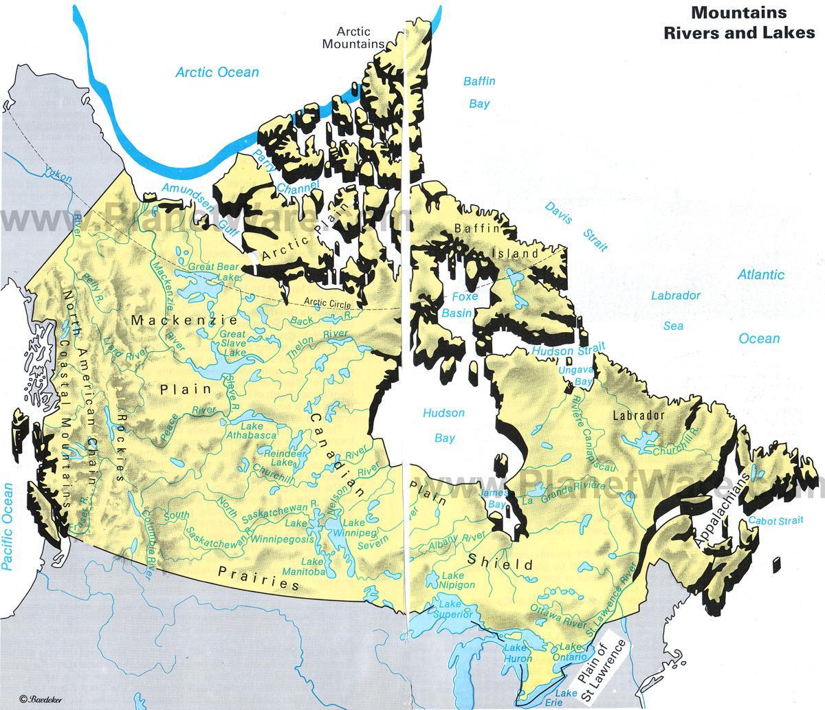 Kanada Berge Karte Gebirge In Der Karte Von Kanada Nordamerika