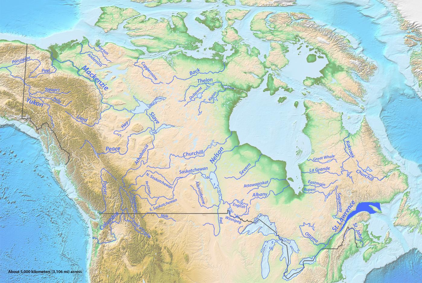 Kanada Fluss Diagramm Kanadas Flusse Karte Nordamerika Und