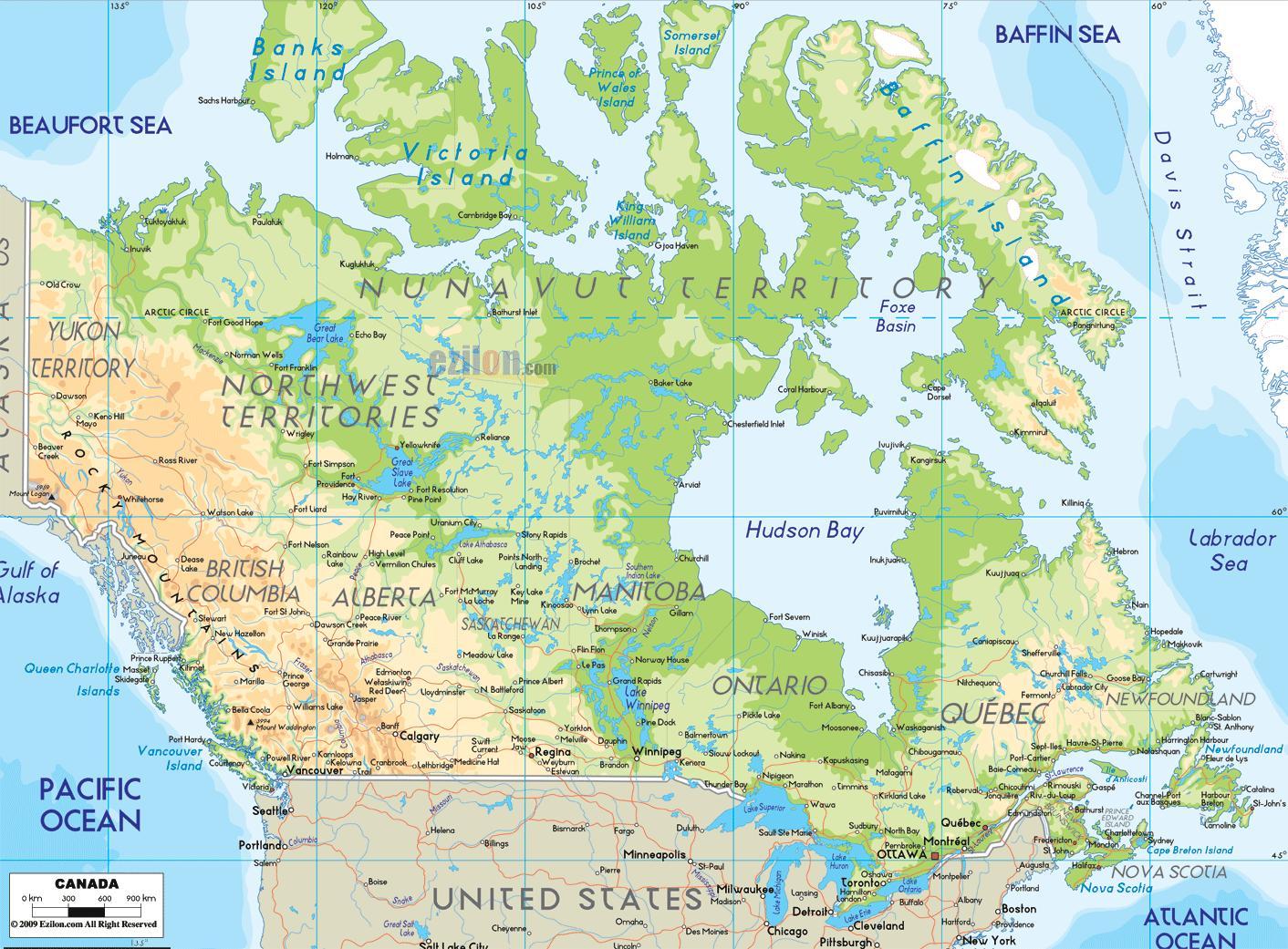 Physische Karte Usa.Physische Karte Von Kanada Physische Karte Von Kanada
