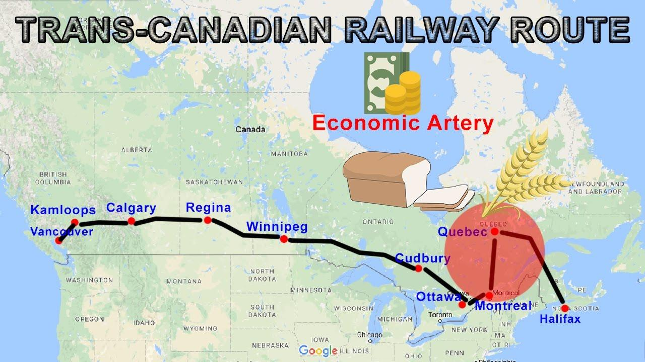 Trans Canada railway map - Trans-Canada rail-route map (Nord-Amerika on