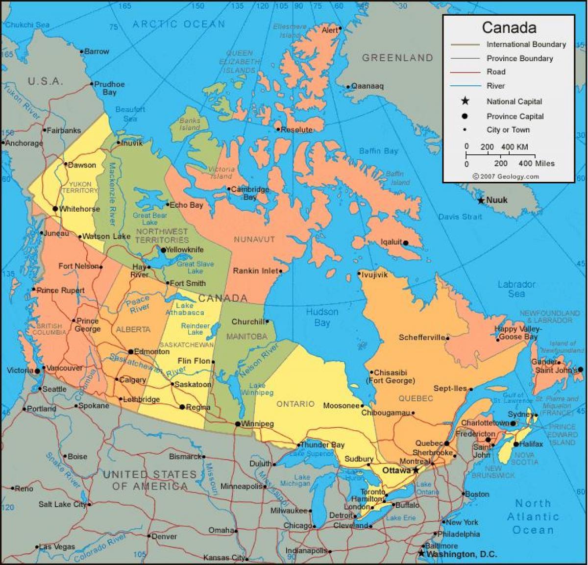 Physische Karte Usa.Kanada Politische Und Physische Karte Kanada Physische