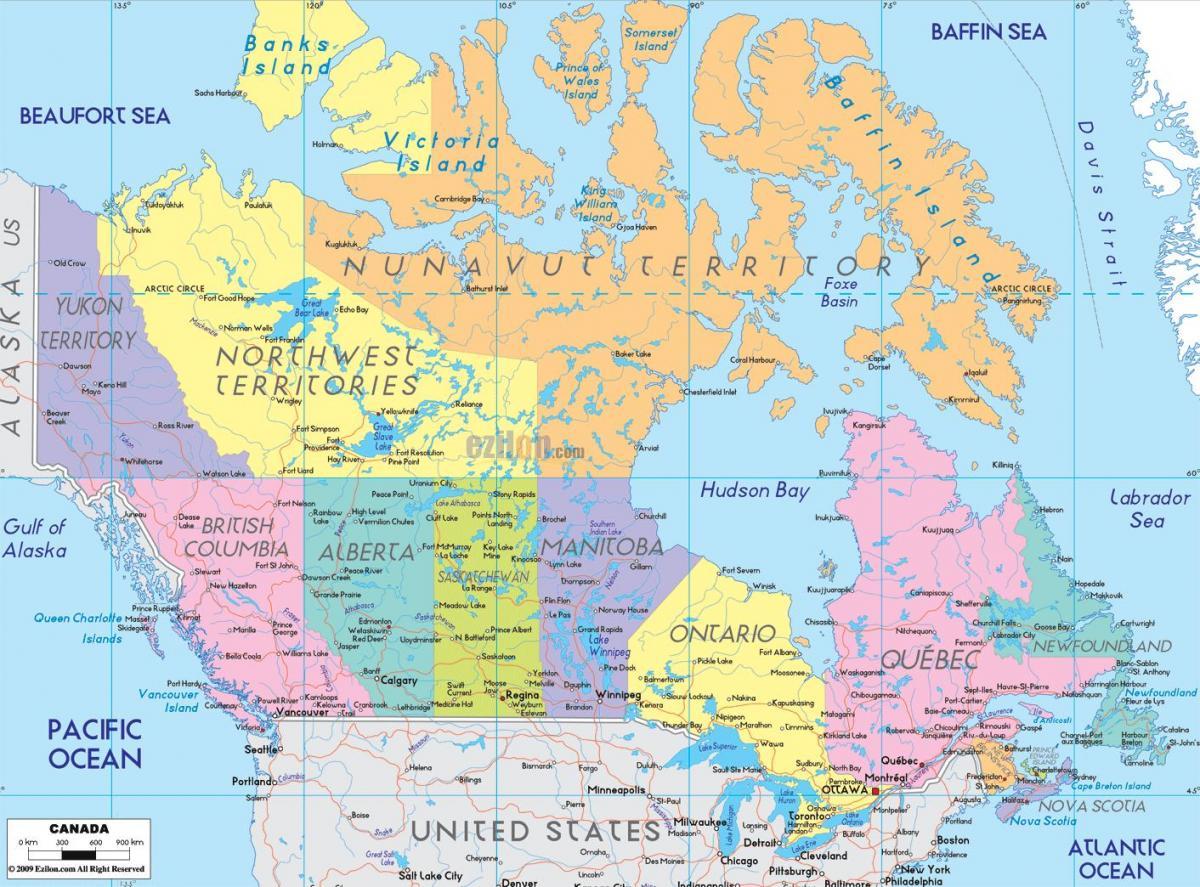 Karte Von Ost Kanada Mit Den Stadten Ost Kanada Landkarte Mit